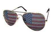 Sunglasses with see through american flag print on the lenses