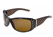 Ladies rhinestone sunglasses with copper high def driving lenses