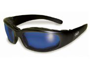 Chicago Padded Motorcycle Glasses with Blue Lenses